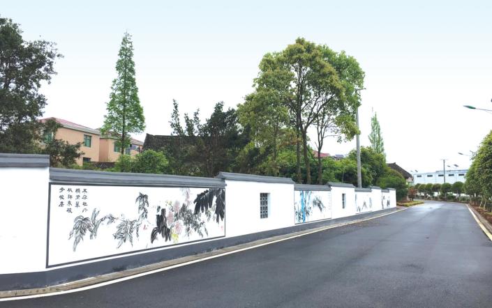 将乡村美景搬上墙,天和社区的文化墙成为当地的一道风景线.